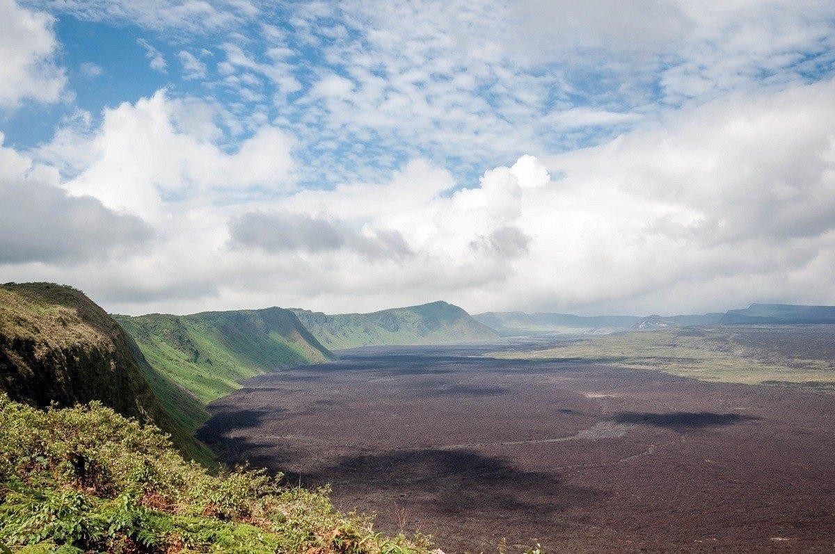 The Sierra Negra Isabela volcano caldera in the Galapagos Islands