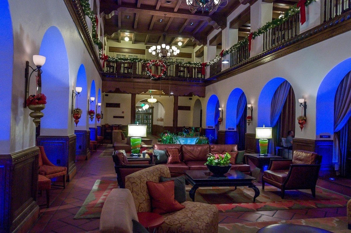 Having cocktails in the lobby lounge at the Hotel Andaluz in Albuquerque