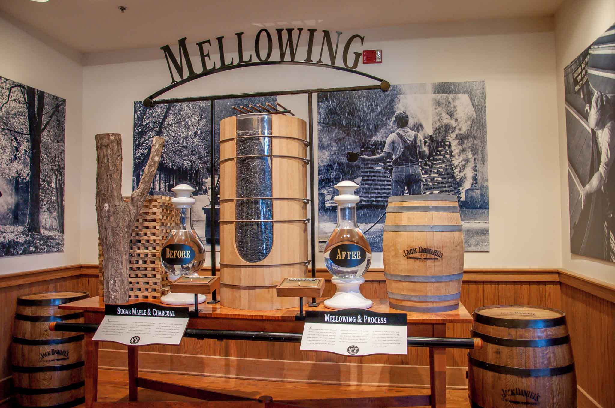 Display of grain and Tennessee whiskey filtering process