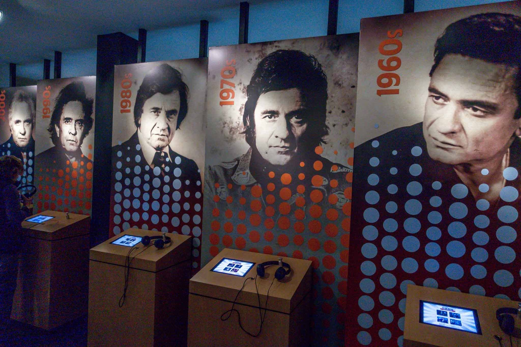 Interactive museum exhibits with photos of Johnny Cash