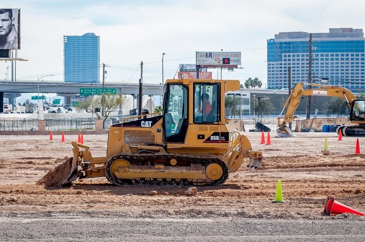 Driving a bulldozer in Las Vegas