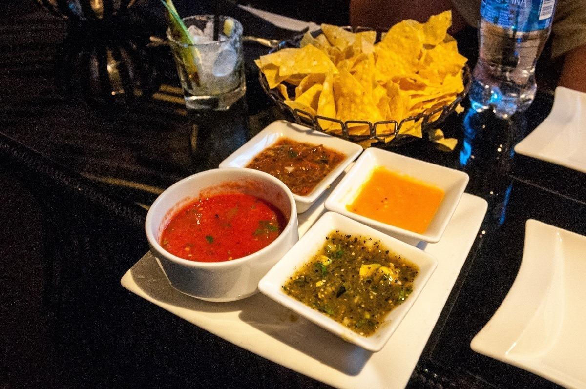 A quartet of salsas at Javier's in Las Vegas