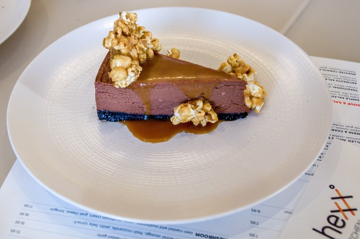 A chocolate cake at Hexx on a Vegas foodie tour