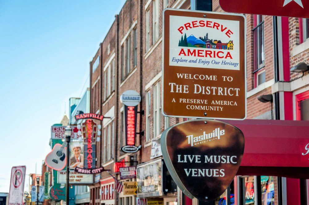 Bars and signs on Broadway in Nashville TN