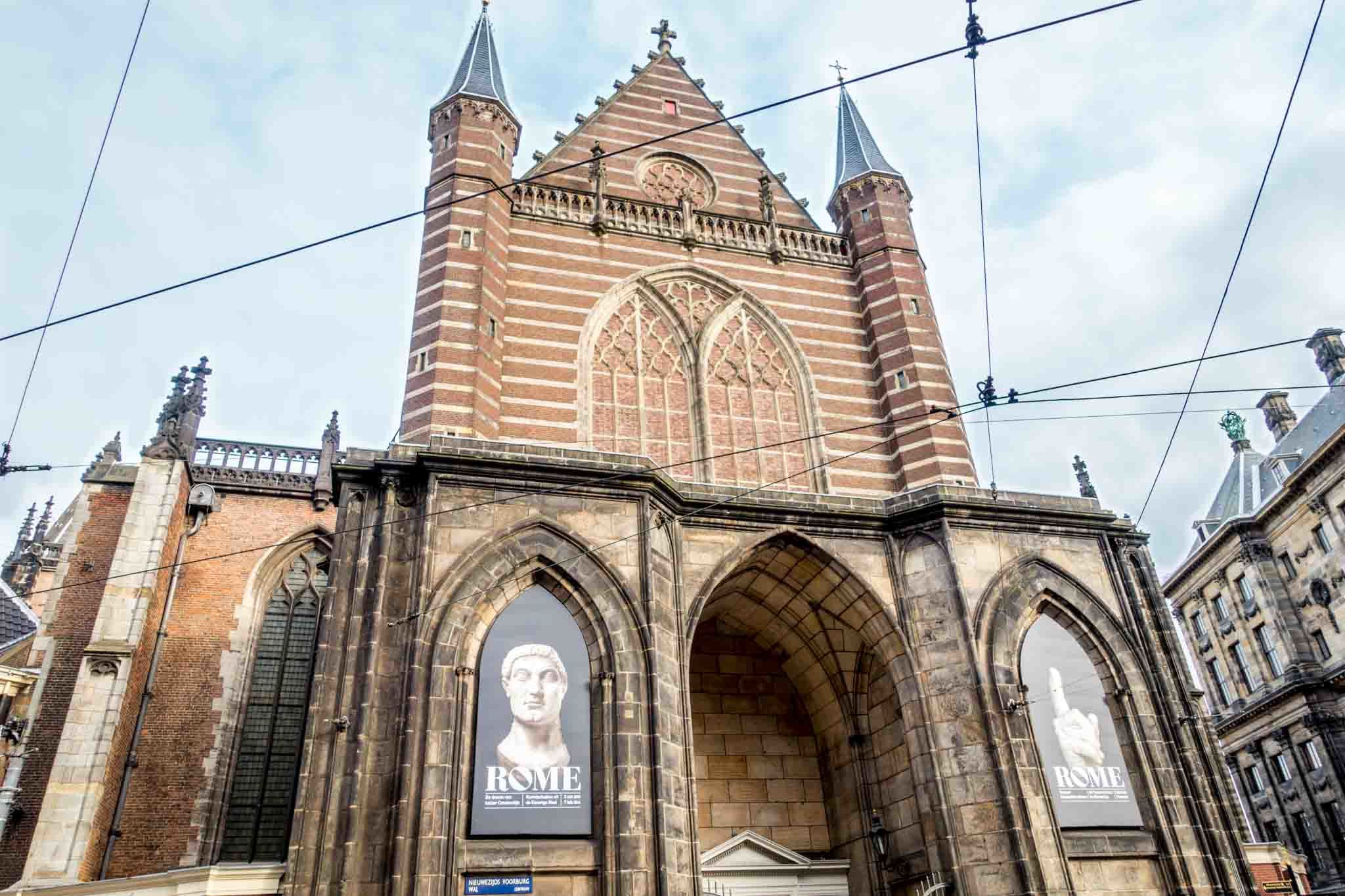 Church with posters advertising an exhibit inside