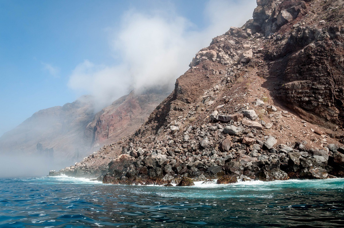 Rocky cliffs dropping to the ocean at Punta Vicente Roca