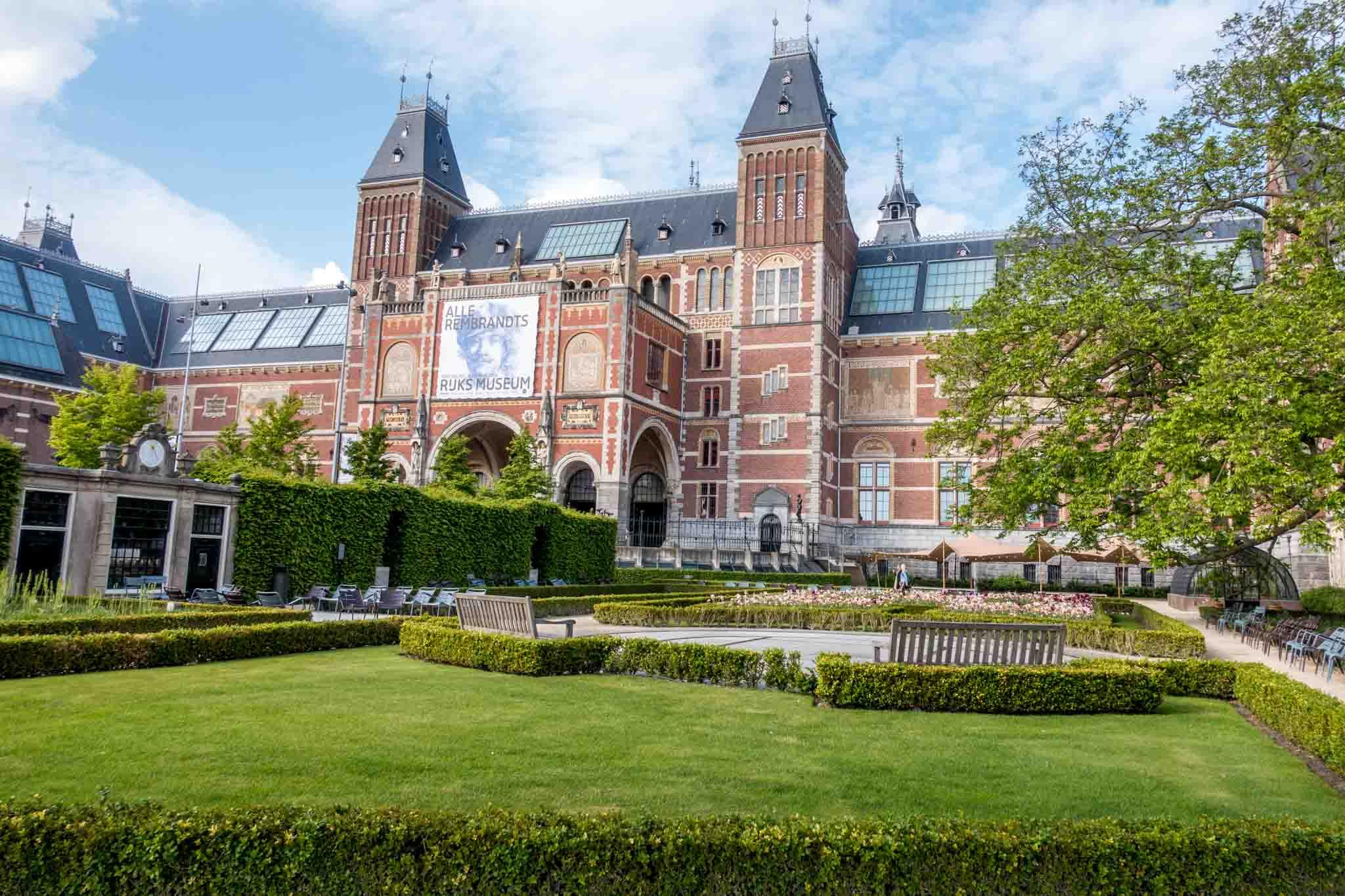 Large brick building with gardens , the Rijksmuseum
