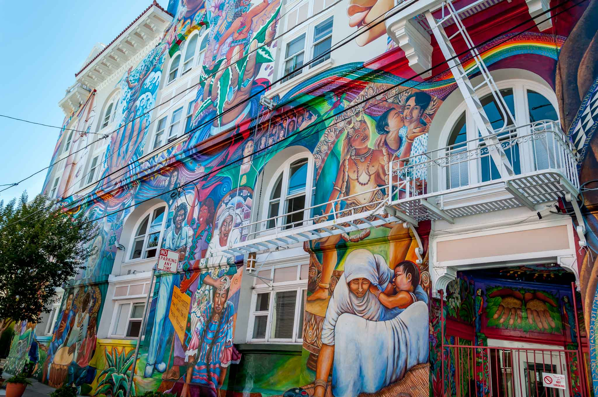 The Women's Building in San Francisco Mission District covered with murals
