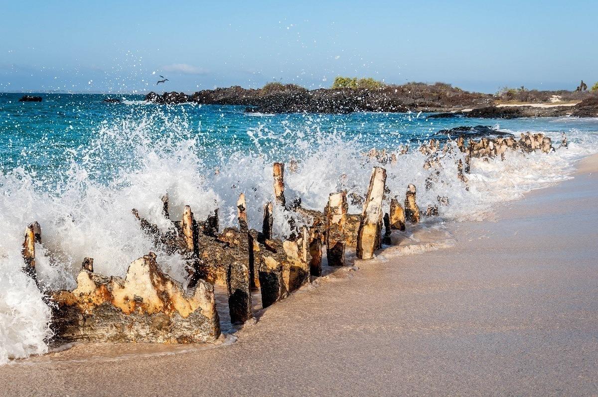 Wave crashing on the remains of a World War II barge on Santa Cruz Island