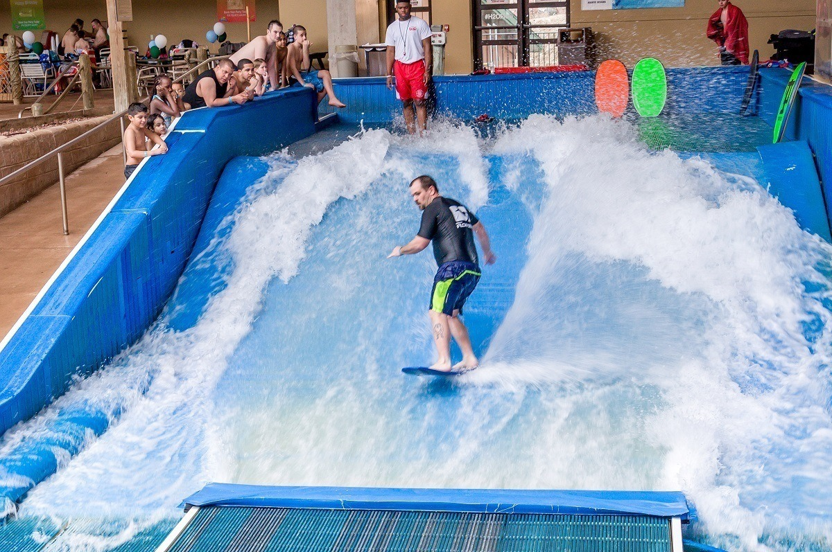 The flow rider at the H2Oooohh!! Waterpark at the Split Rock Resort