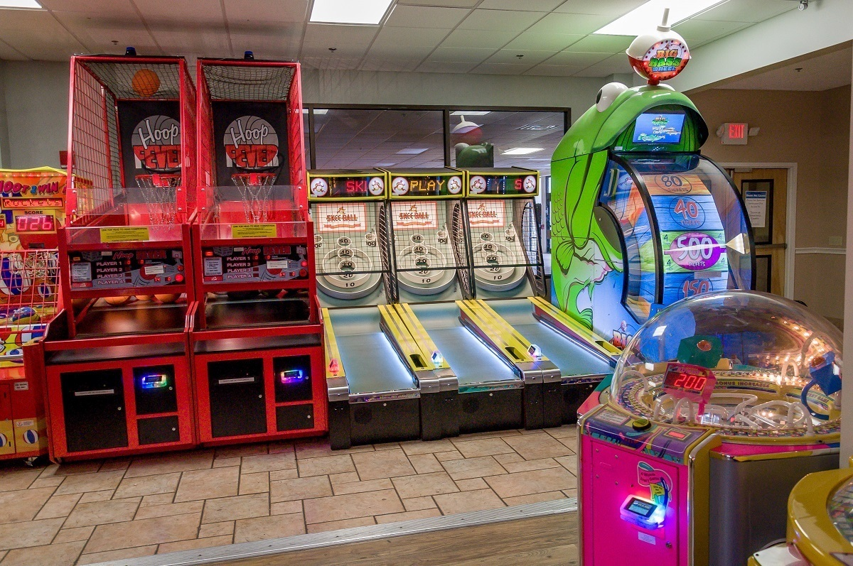 Room with arcade games