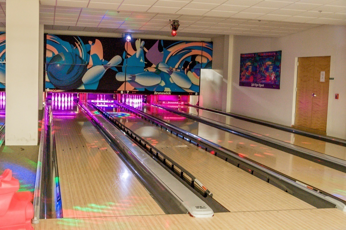A four lane bowling alley in the Galleria at Split Rock