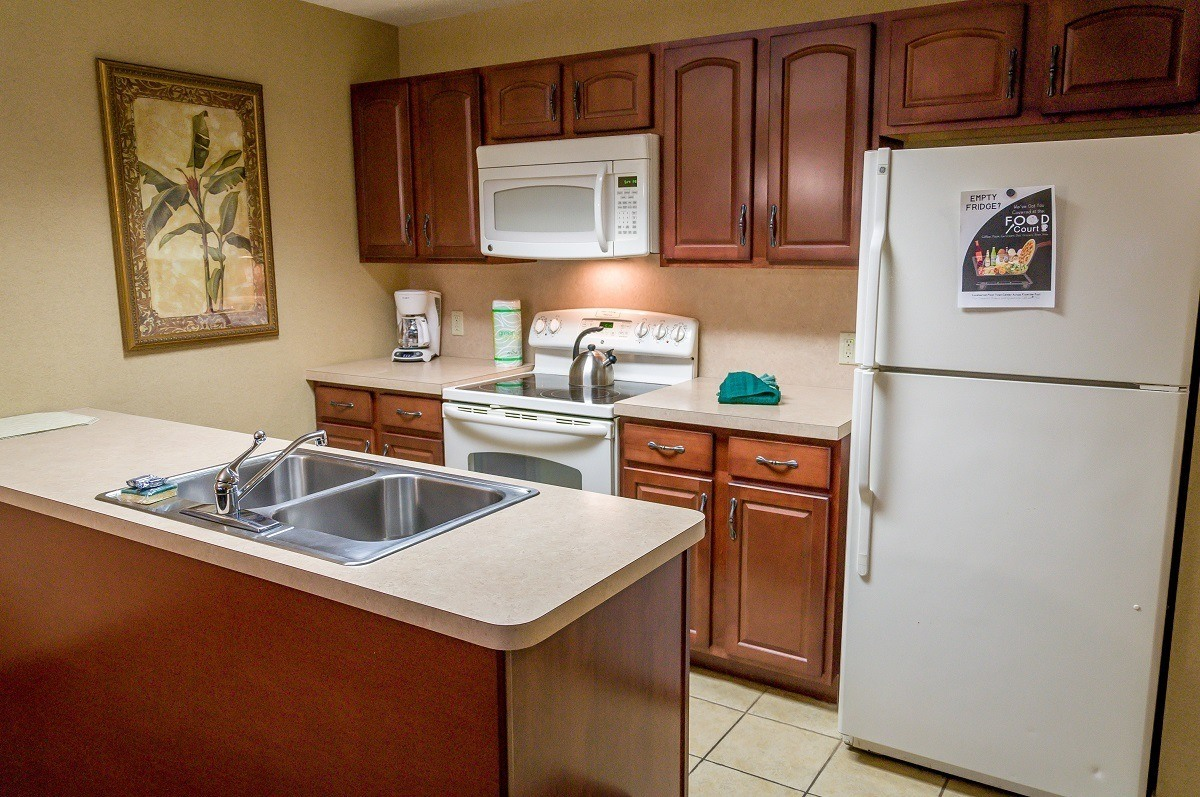 Kitchen in the one-bedroom suite