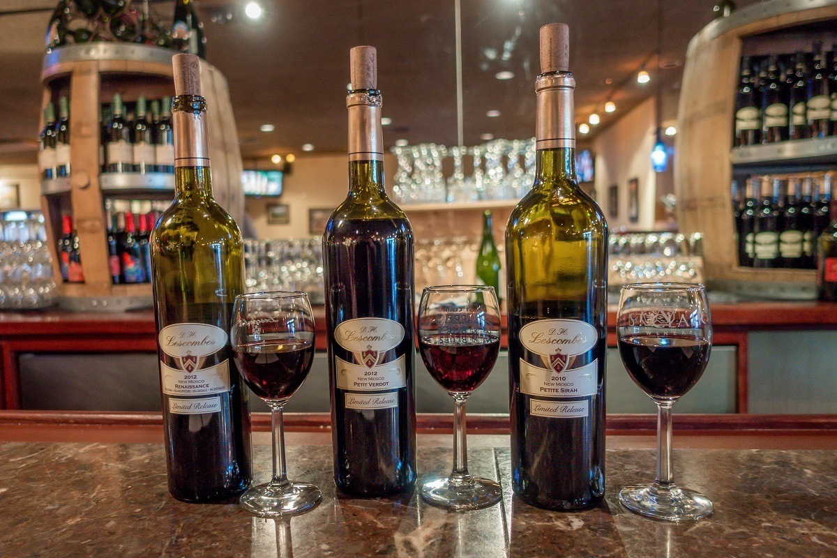 Wine glasses and bottles at the D.H. Lescombes/St. Clair Winery & Bistro