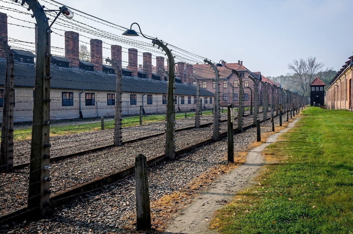 Barbed wire fence at the Auschwitz concentration camp, one of the most well known UNESCO World Heritage Sites