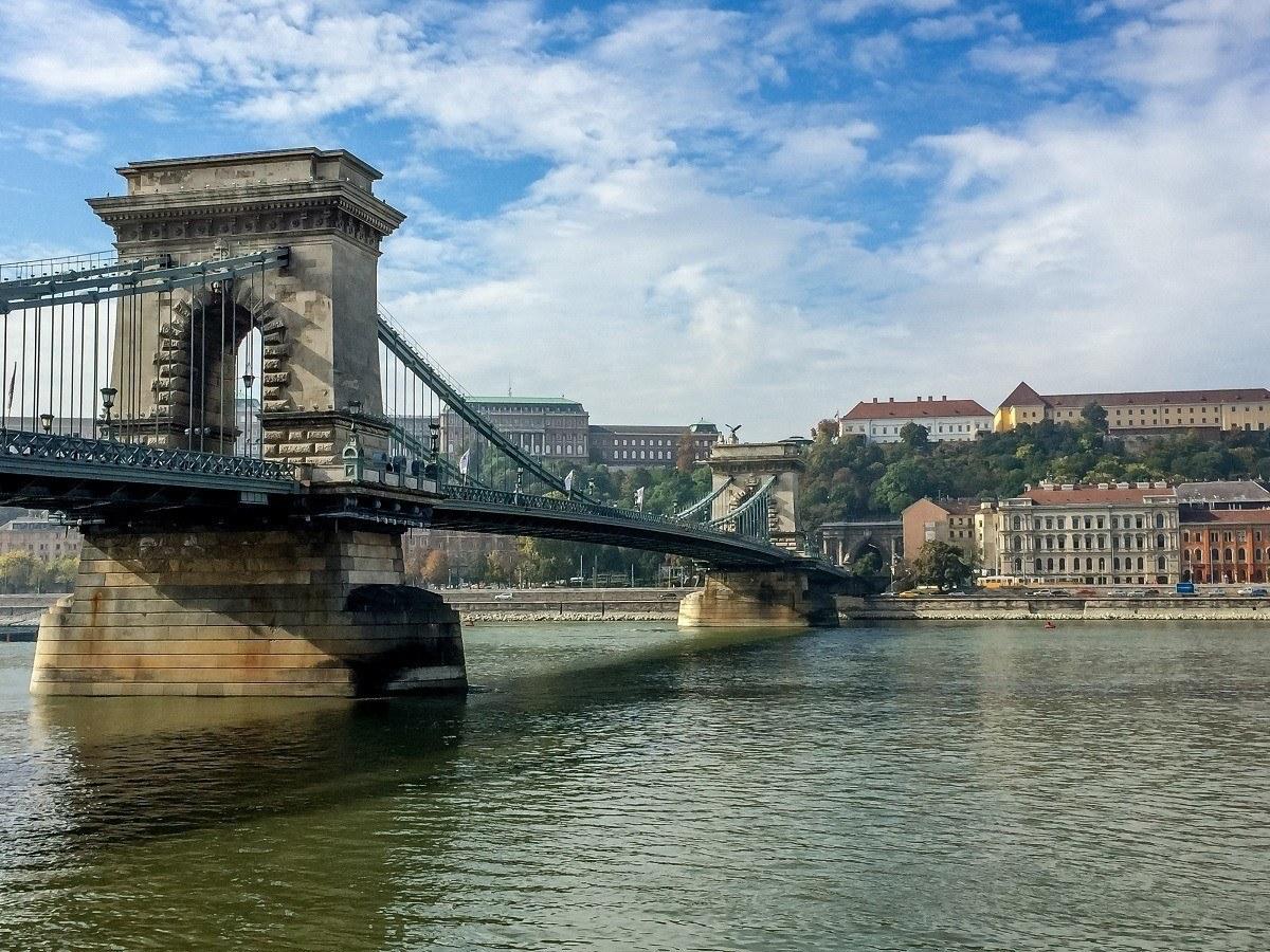 Bridge crossing the Danube River in Budapest