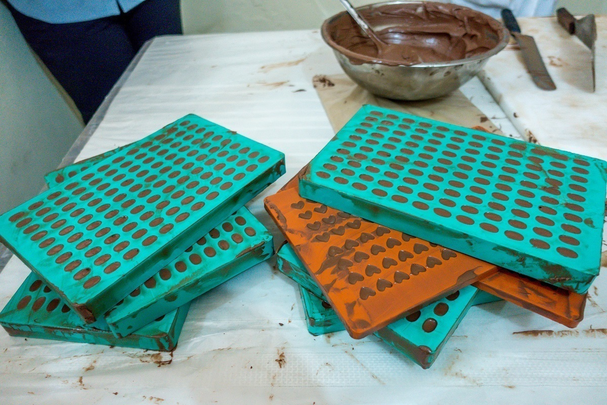 Chocolate molds filled with chocolate