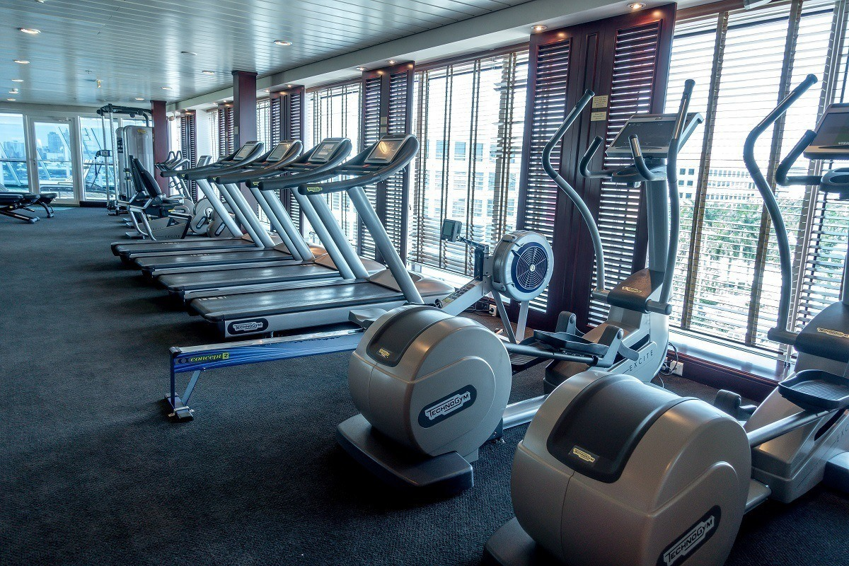 Treadmills and ellipticals in the gym