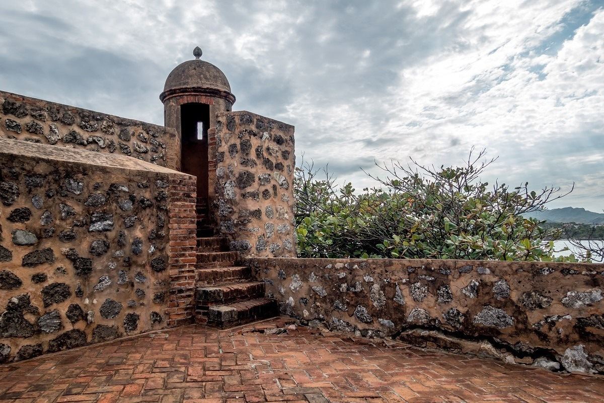 Stone walls of Fort San Felipe in Puerto Plata, Dominican Republic