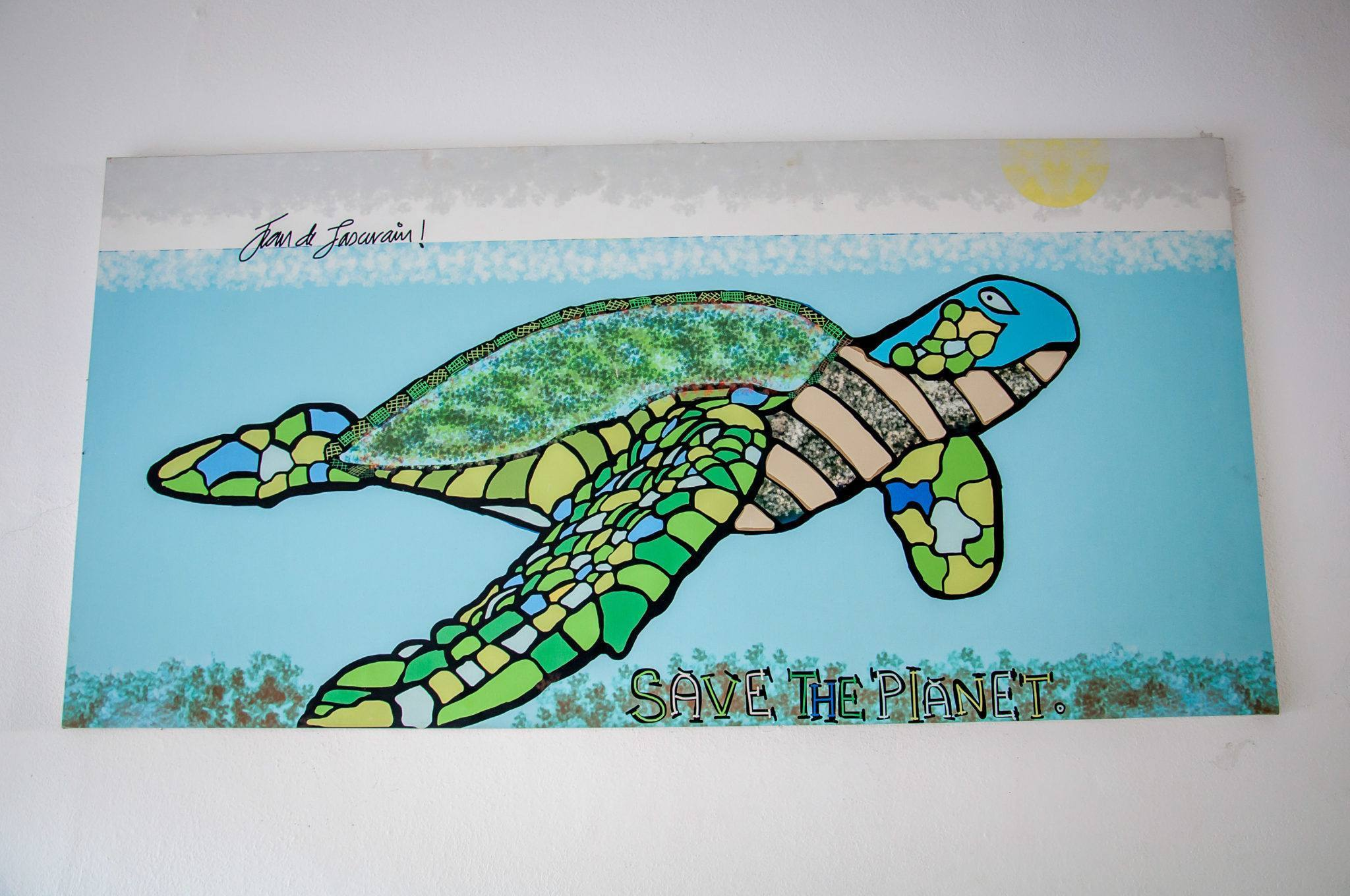 """Turtle painting that says """"Save The Planet"""""""