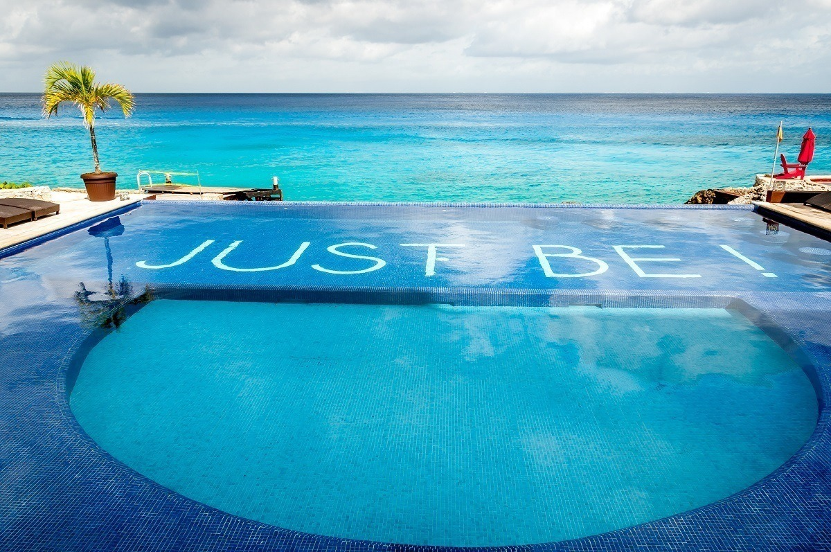 """""""Just Be!"""" at the Hotel B Cozumel pool infinity pool"""