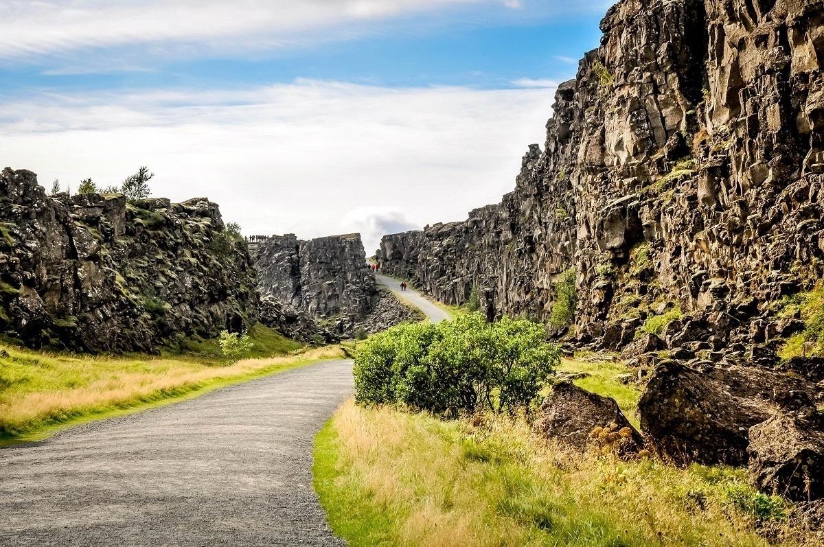 People walking in Thingvellir National Park