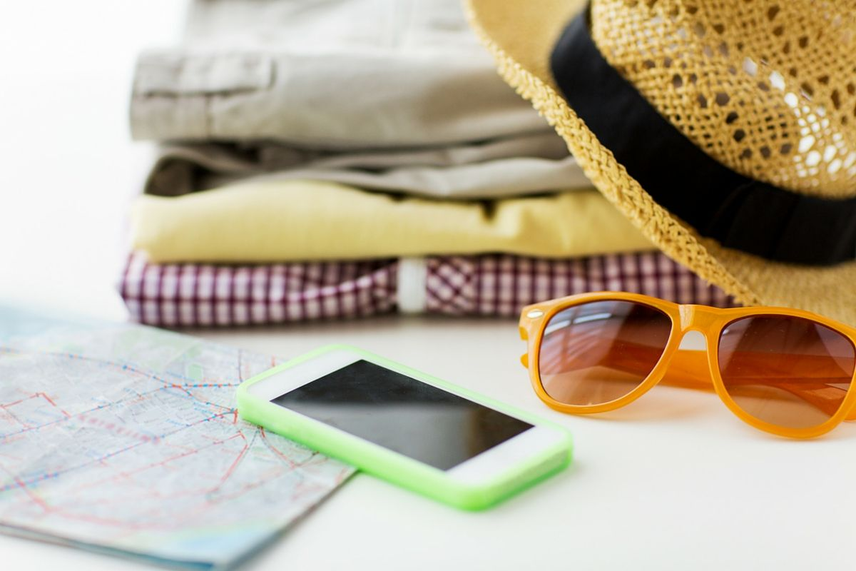 Map, cell phone, and clothes