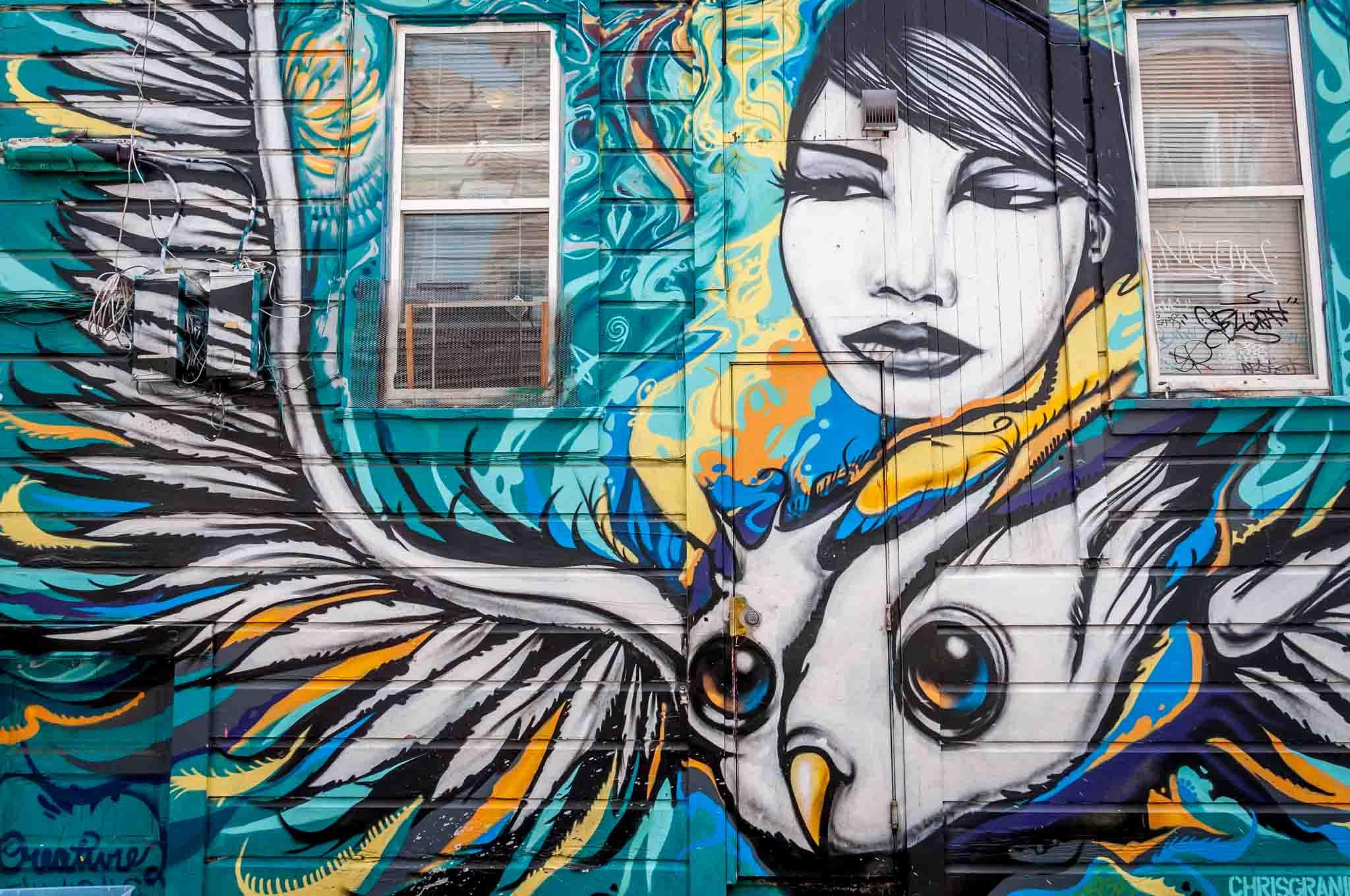 Street art mural of a woman and bird