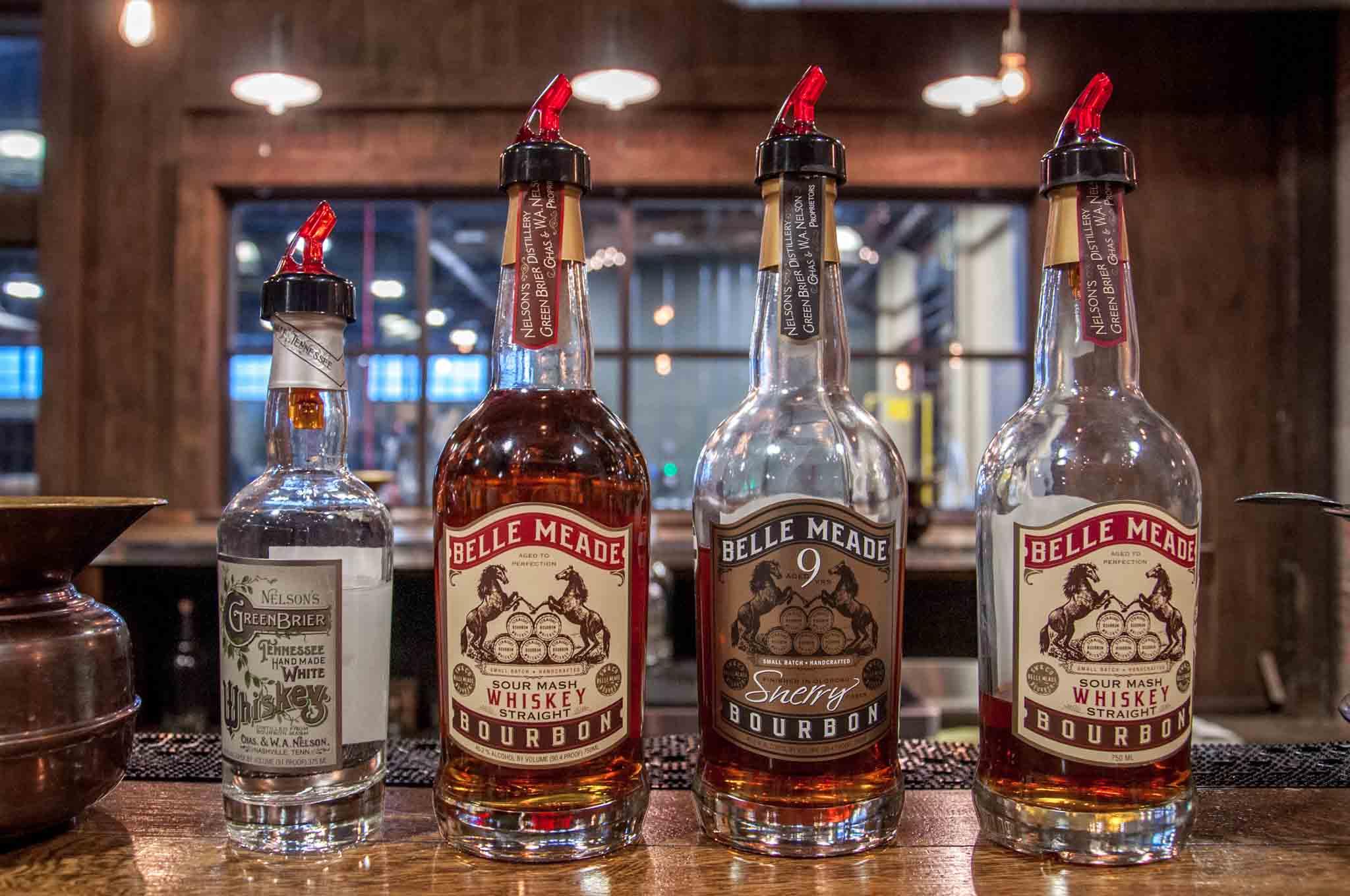 Bottles of spirits on the bar at Nelson's Green Brier Distillery