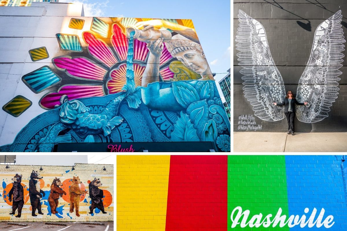 Collage of colorful street art murals