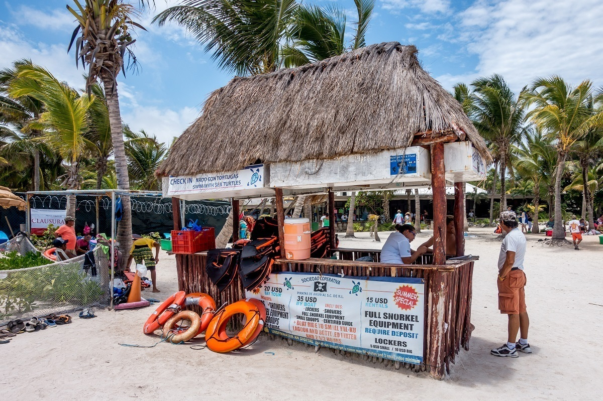 Beach hut for renting snorkel gear or life jackets