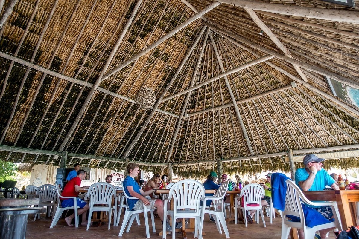 Open air restaurant with thatched roof