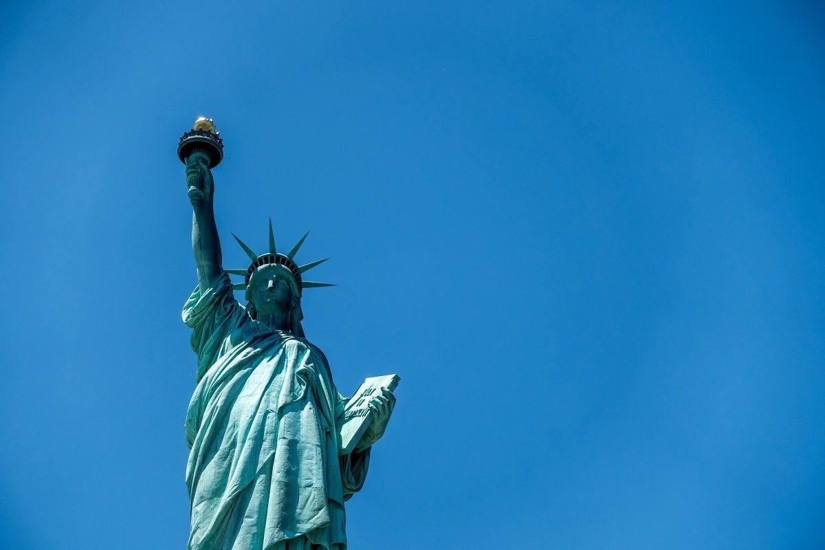 Closeup of The Statue of Liberty on Liberty Island