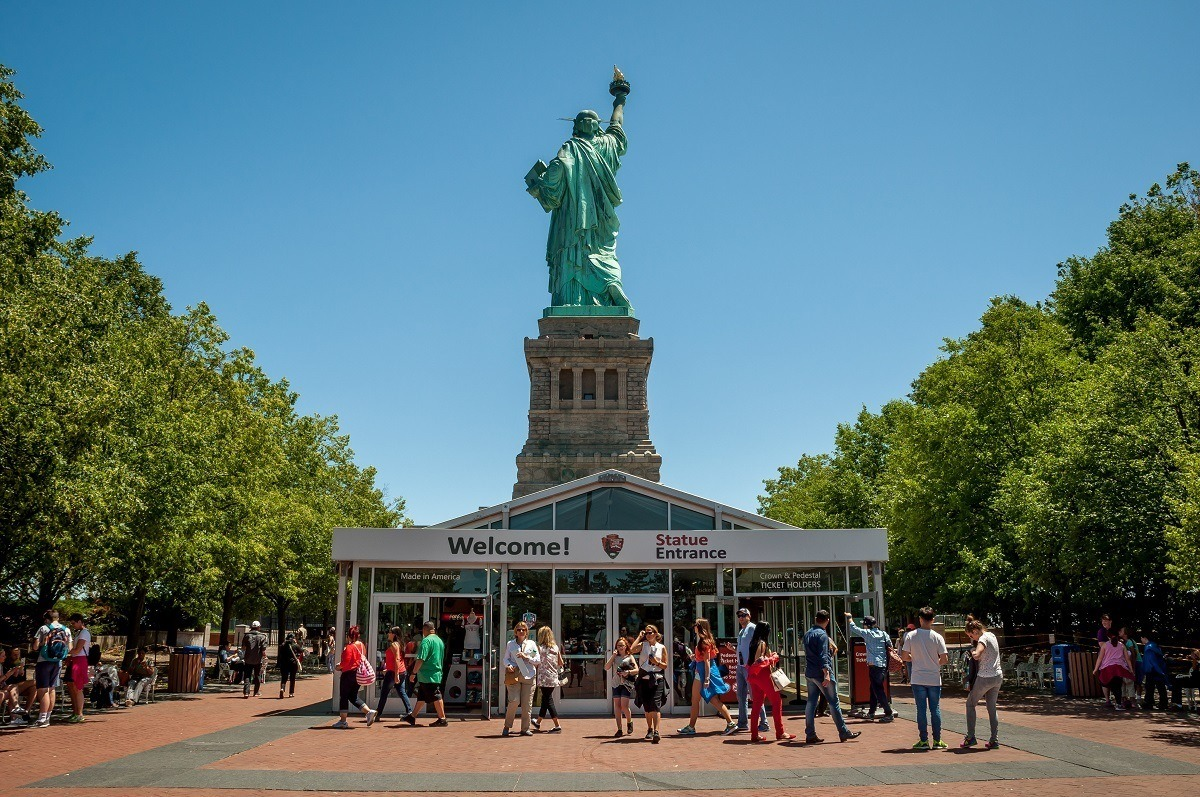 Back of the Statue of Liberty with the Visitors Center