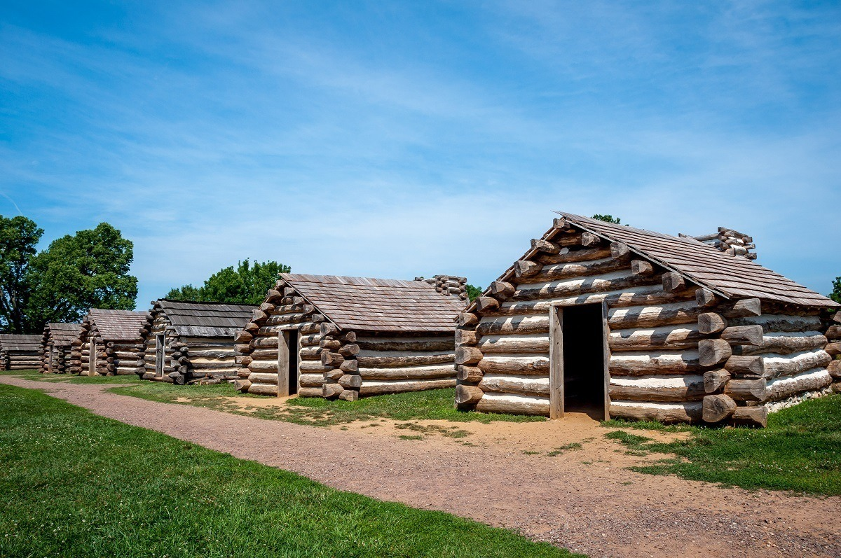 Replicas log cabins in Valley Forge Park