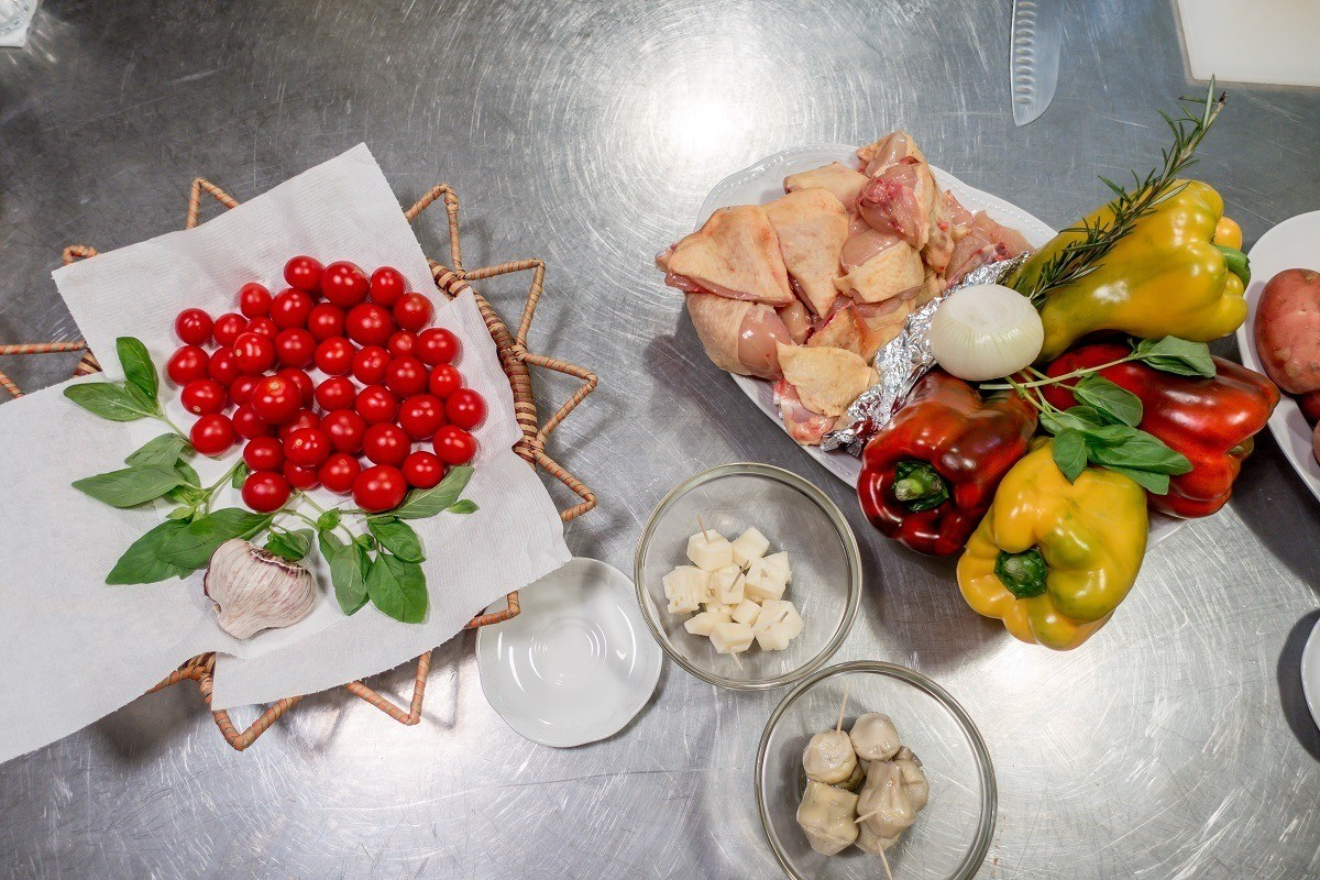 Chicken, tomatoes, and peppers for our cooking class in Rome