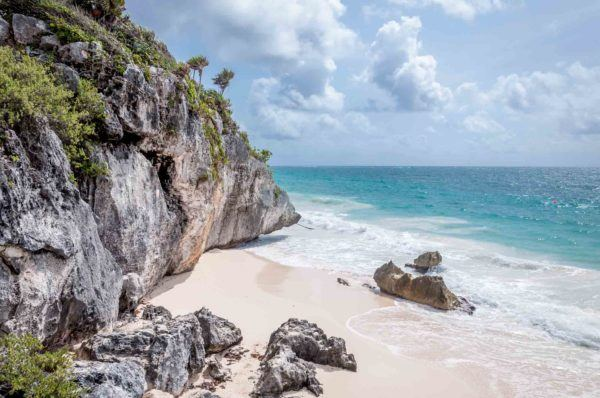 The refreshing beach just behind the Tulum, Mexico, historic site near Akumal