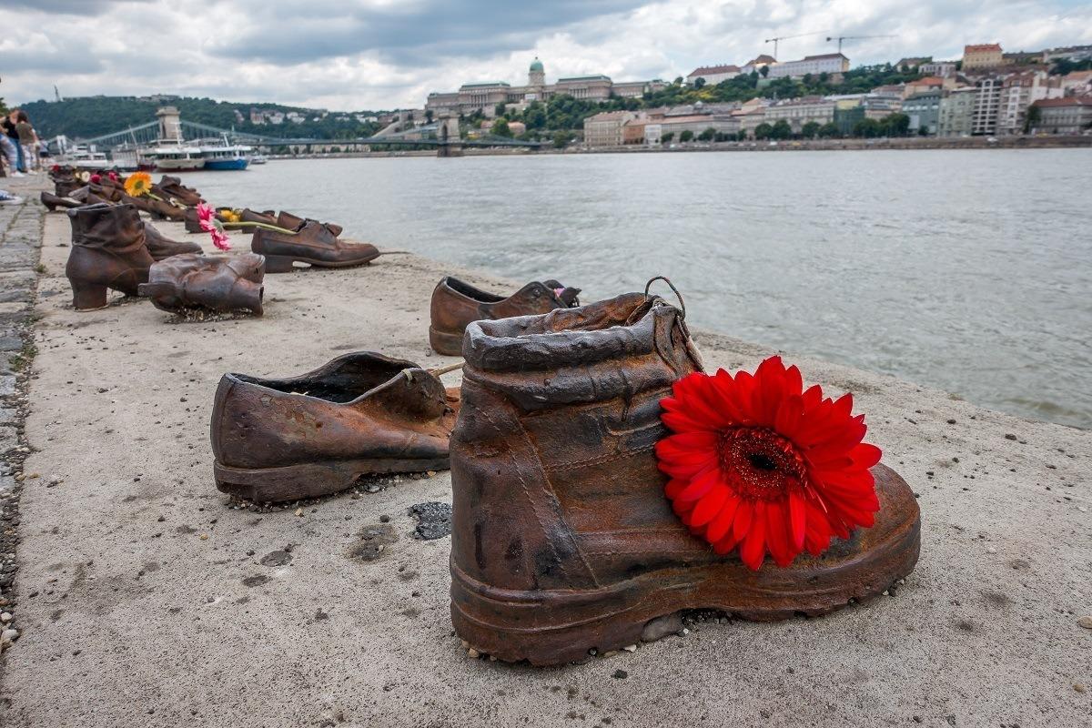 Flowers in a shoe sculpture