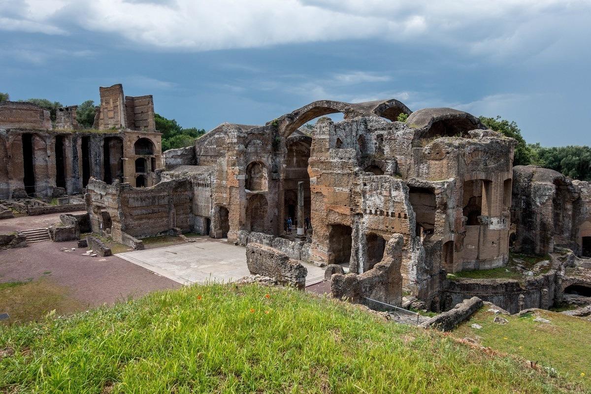 Stone ruins of the bath complexes at Hadrian's Villa in Tivoli Italy