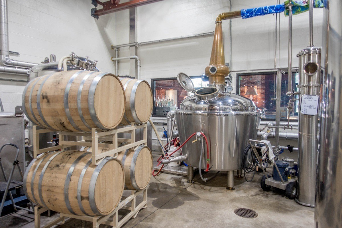 Stills, barrels, and distillery equipment on the Central PA Tasting Trail