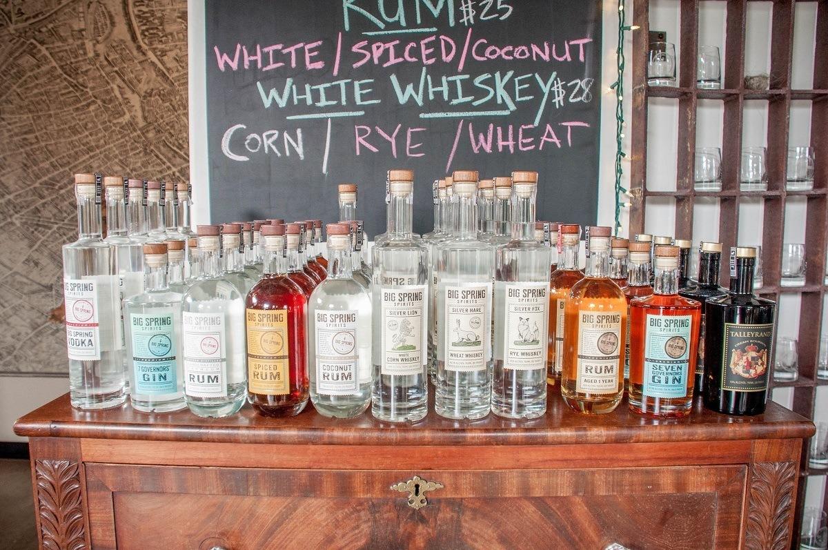 Bottles of Big Spring Spirits