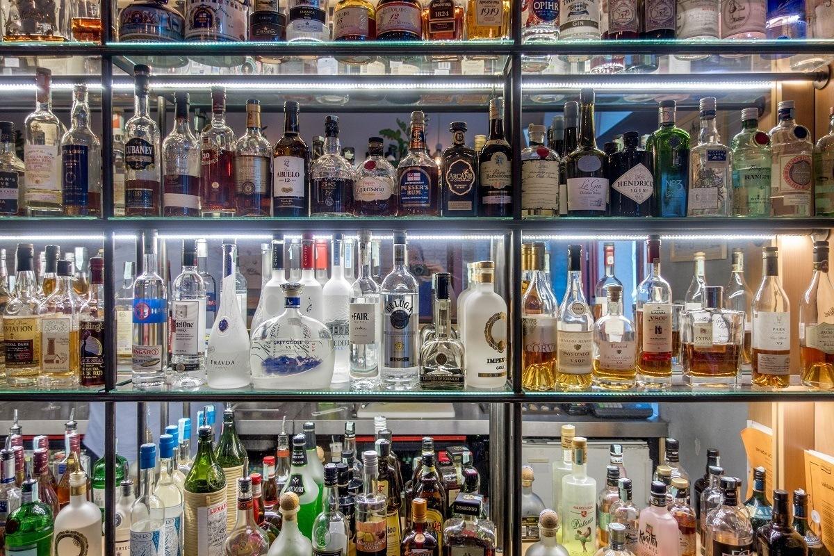 Bottles of spirits on shelves