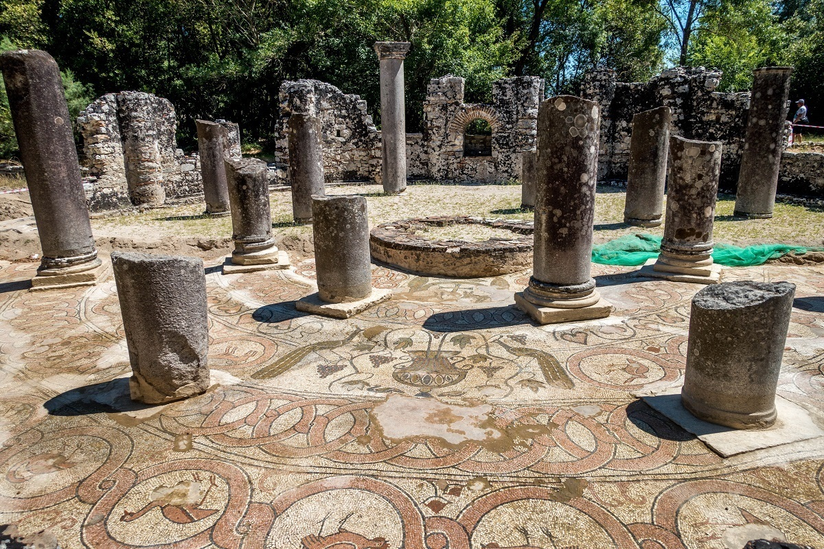 Mosaic and remains of columns in the baptistry at Butrint Albania