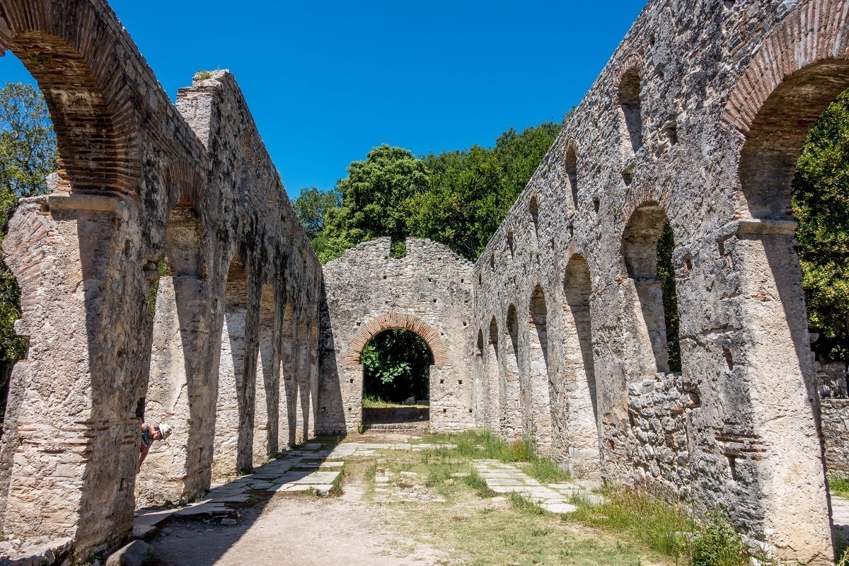 Stone arch ruins of the early Christian basilica at Butrint