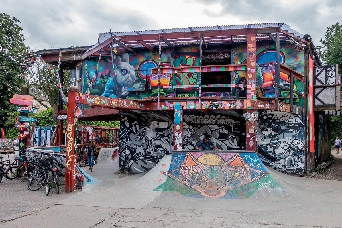 """""""Wonderland"""" skate park covered with graffiti"""