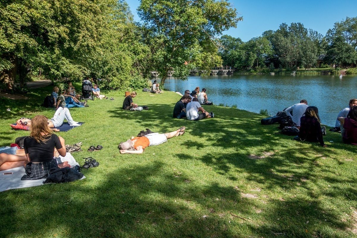 People relaxing by a lake