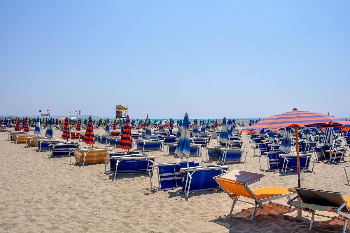 An empty beach full of beach chairs