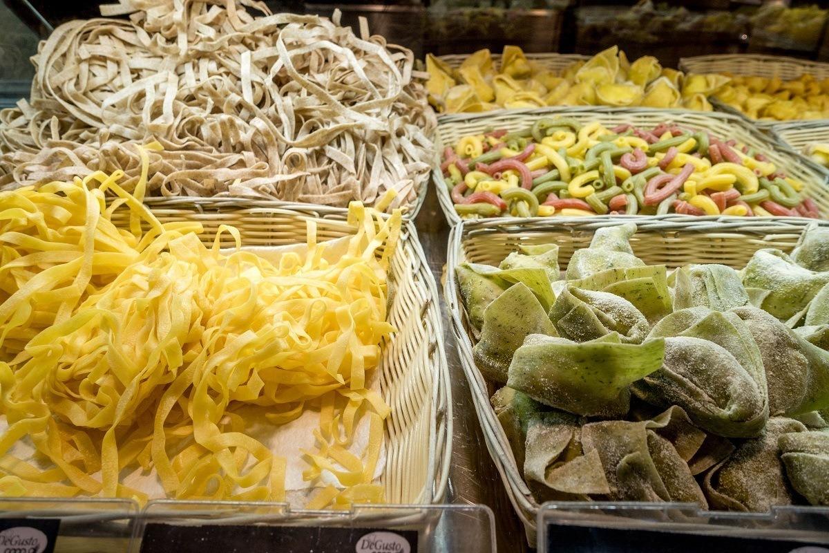 Fresh pasta for sale in Mercato di Mezzo in Bologna