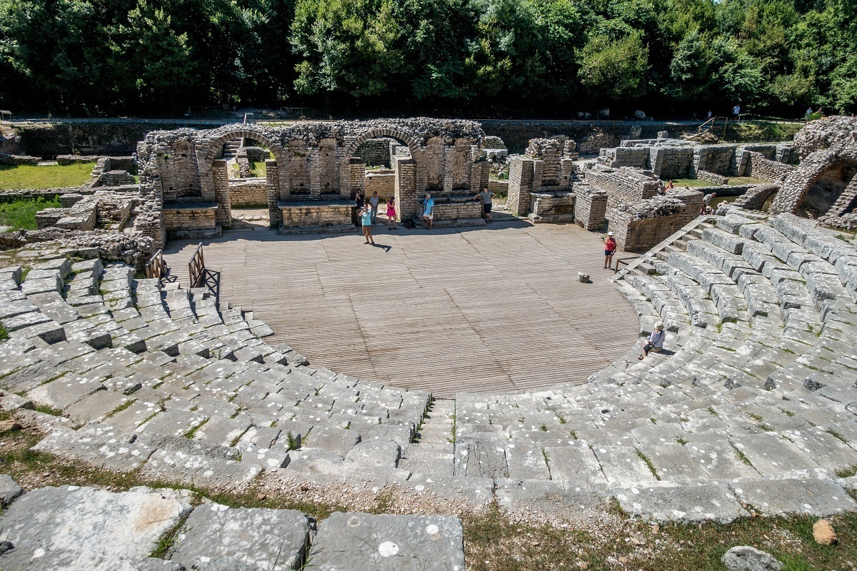 Seats and stage of the Greek amphitheater