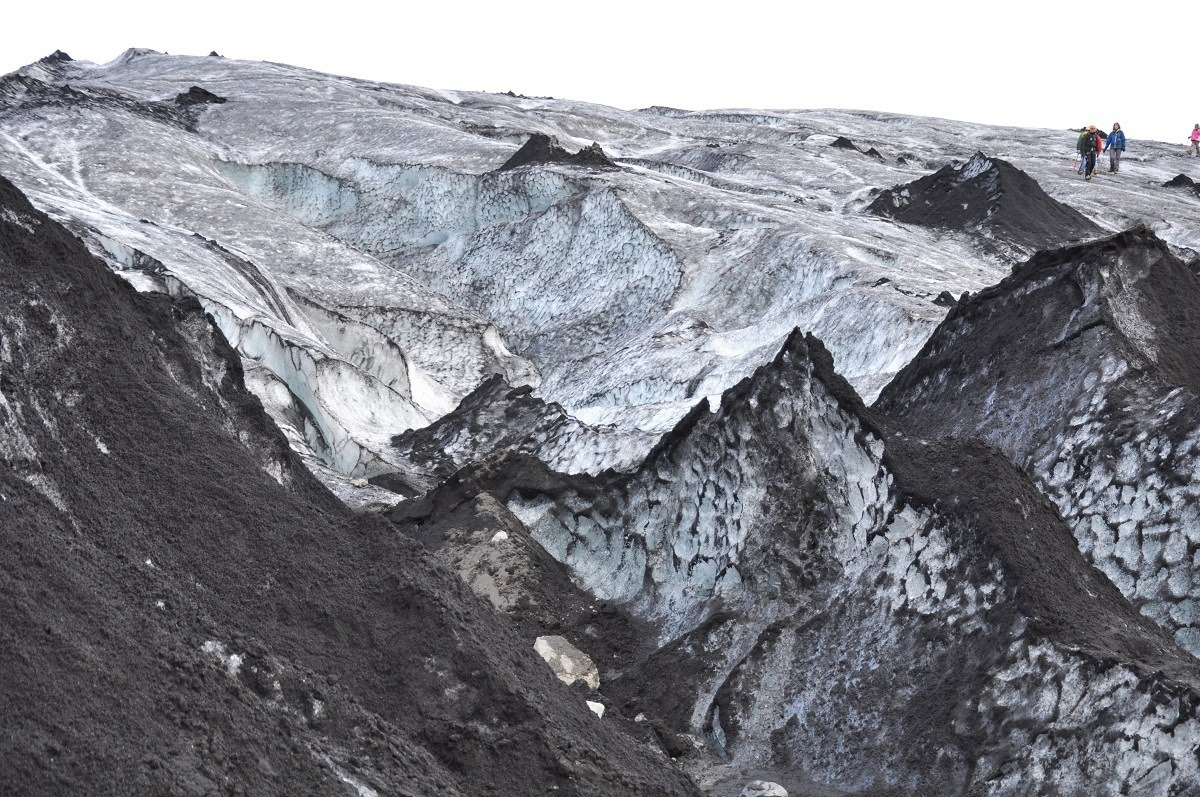 Hikers on the Solheimajokull glacier in Iceland